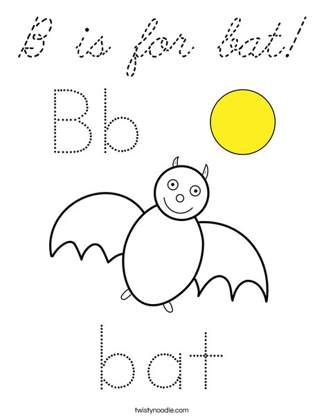 B is for Bat Coloring Page