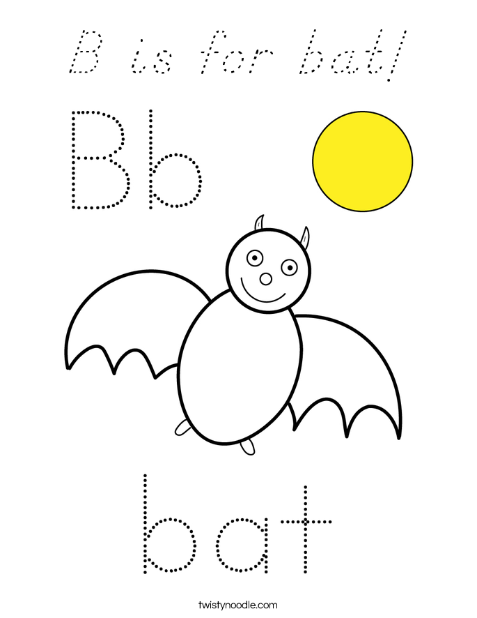 B is for bat! Coloring Page