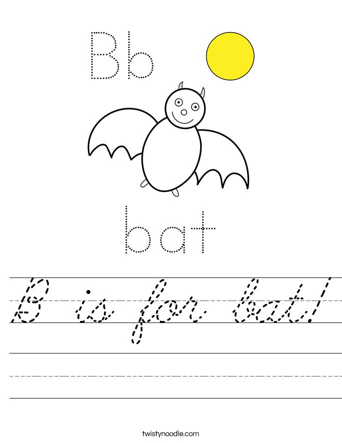 B is for bat Worksheet - Cursive - Twisty Noodle