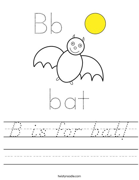B is for Bat Worksheet