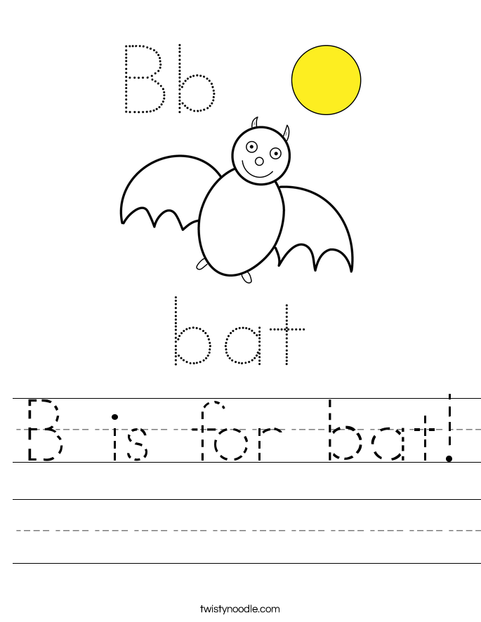B is for bat! Worksheet