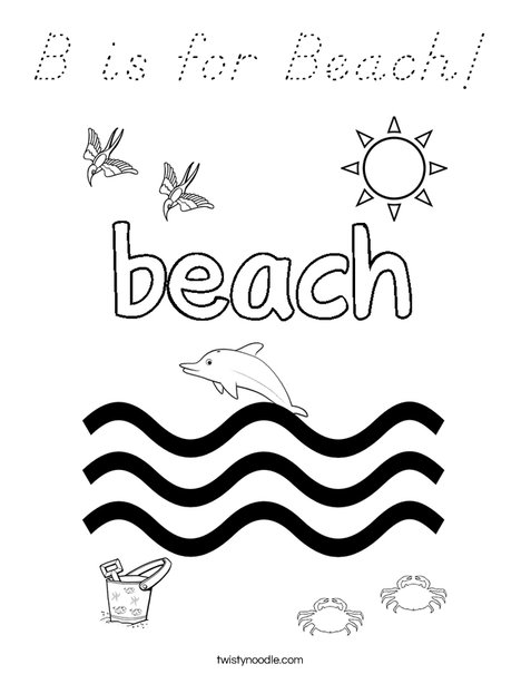 B is for Beach! Coloring Page