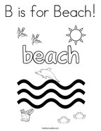 B is for Beach Coloring Page