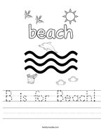 B is for Beach Handwriting Sheet