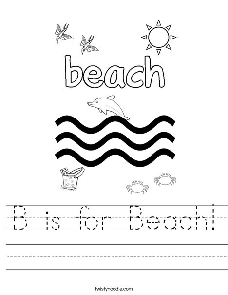 B is for Beach Worksheet - Twisty Noodle