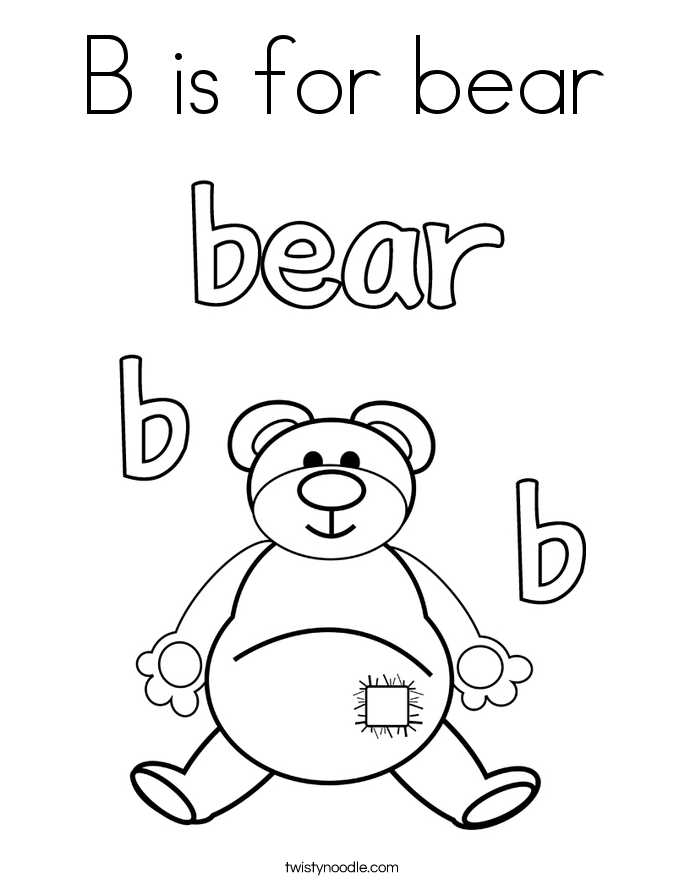 B is for bear Coloring Page Twisty Noodle