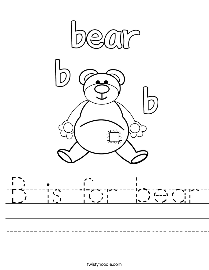 B is for bear Worksheet