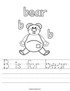 B is for bear Handwriting Sheet