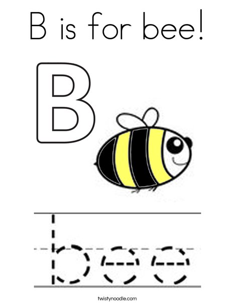 B is for bee! Coloring Page