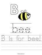 B is for bee Handwriting Sheet