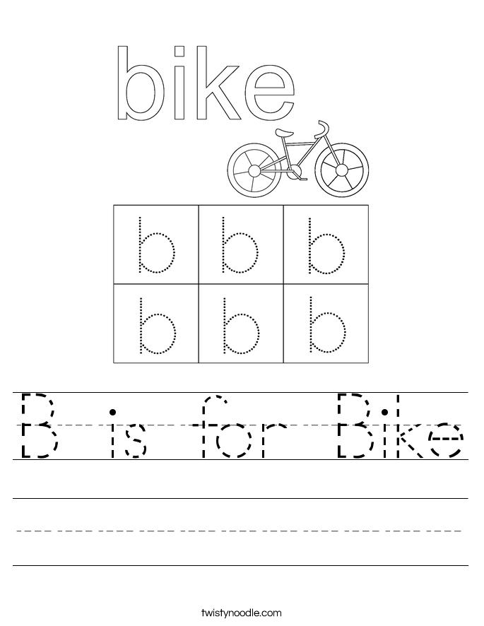 B is for Bike Worksheet
