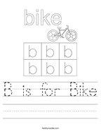B is for Bike Handwriting Sheet