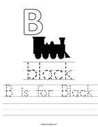 B is for Black Handwriting Sheet