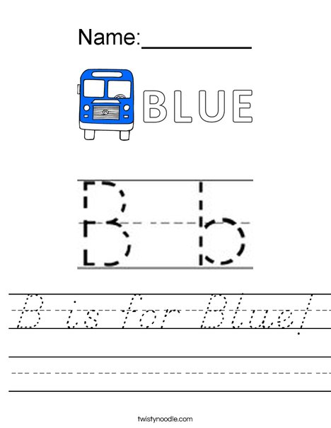 B is for Blue! Worksheet