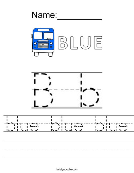 B is for Blue! Worksheet