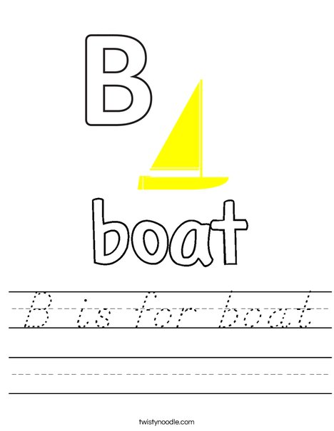 B is for boat Worksheet