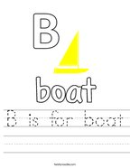 B is for boat Handwriting Sheet