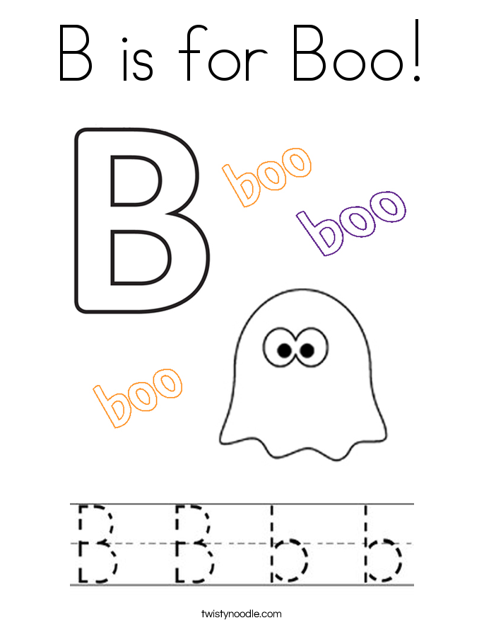B is for Boo! Coloring Page