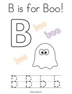 B is for Boo Coloring Page