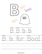 B is for Boo Handwriting Sheet