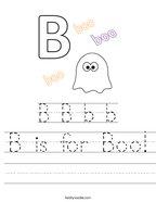 B is for Boo Handwriting Sheet