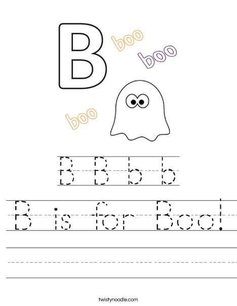 B is for Boo! Worksheet