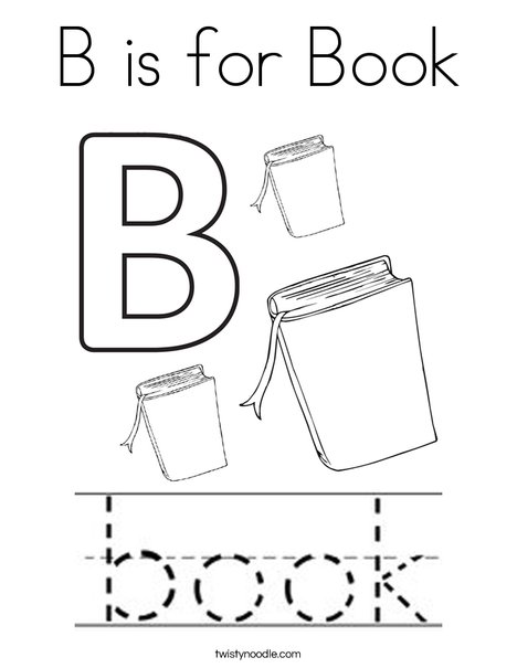 B is for Book Coloring Page