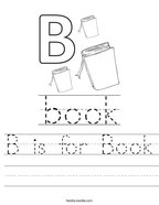 B is for Book Handwriting Sheet