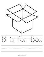 B is for Box Handwriting Sheet