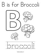 B is for Broccoli Coloring Page
