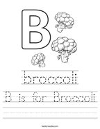 B is for Broccoli Handwriting Sheet