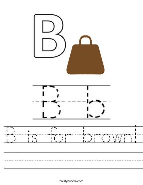 B is for Brown! Worksheet