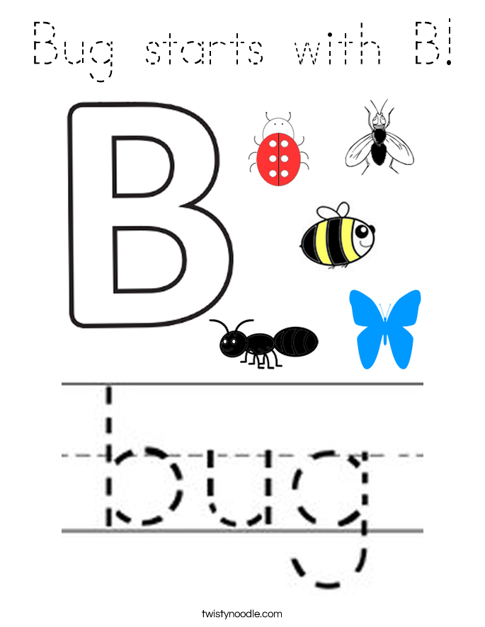 Bug starts with B! Coloring Page
