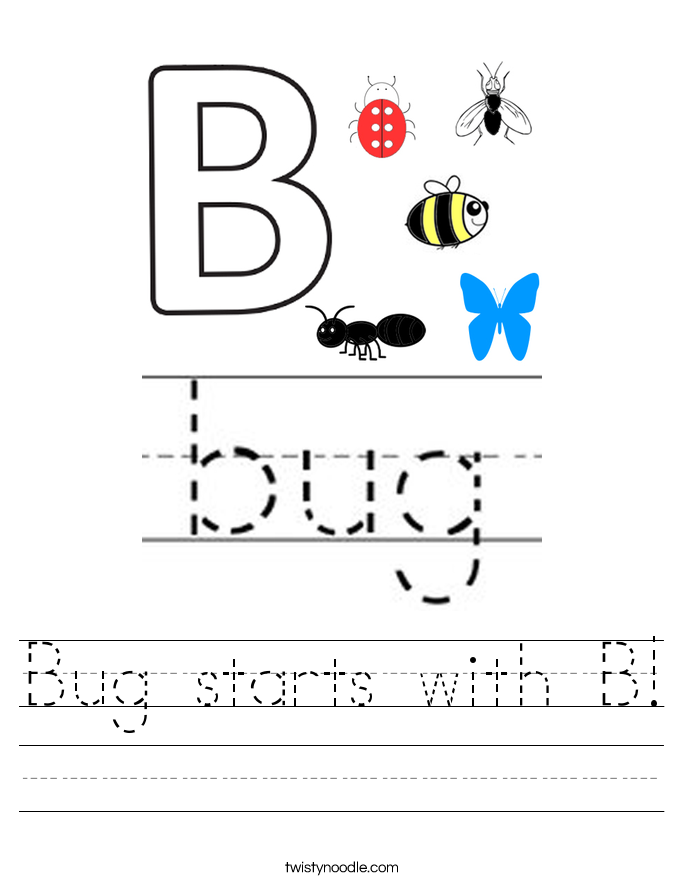 Bug starts with B! Worksheet
