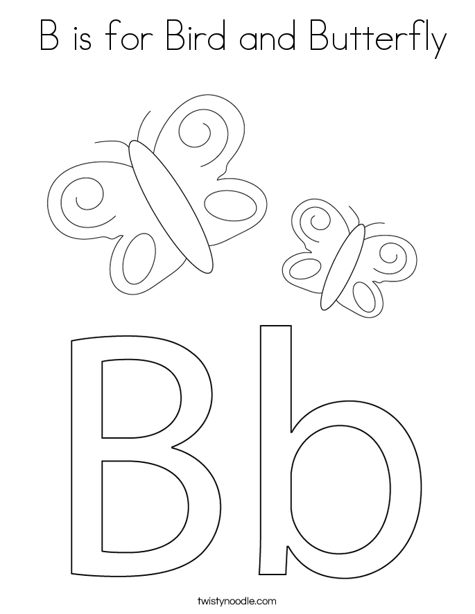 B is for Bird and Butterfly Coloring Page