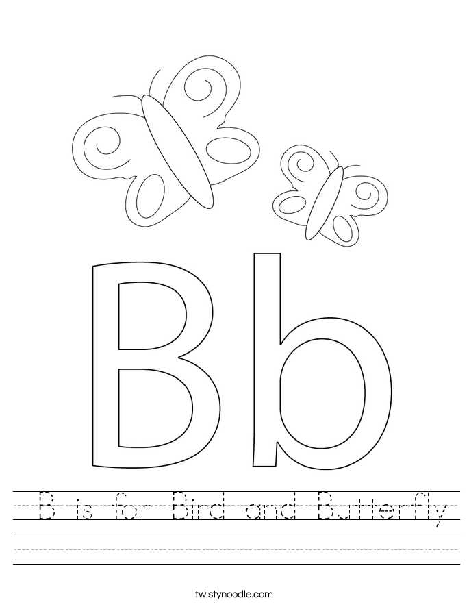 B is for Bird and Butterfly Worksheet