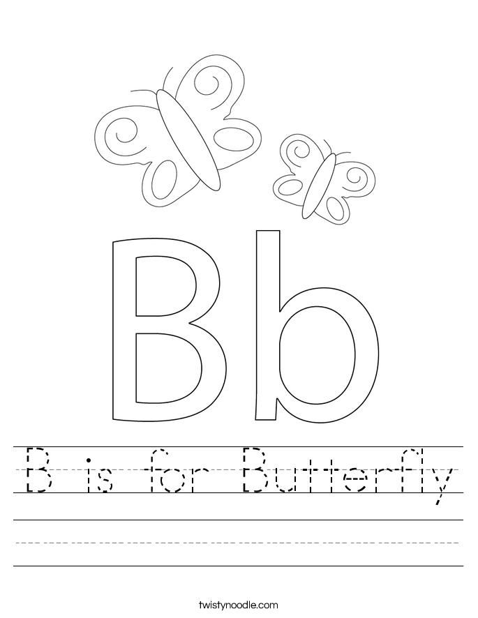 B is for Butterfly Worksheet