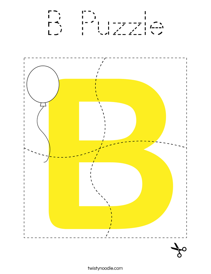B Puzzle Coloring Page