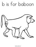 b is for baboon Coloring Page