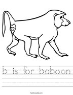 b is for baboon Handwriting Sheet