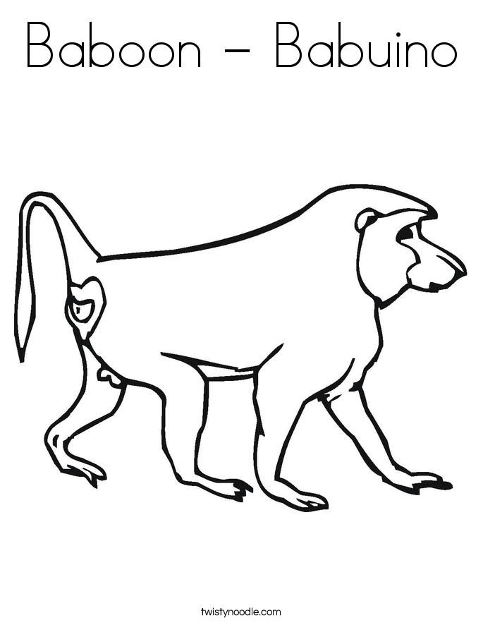 Baboon - Babuino Coloring Page
