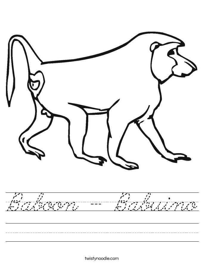 Baboon - Babuino Worksheet
