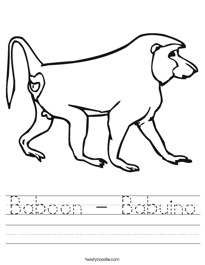 Baboon - Babuino Worksheet