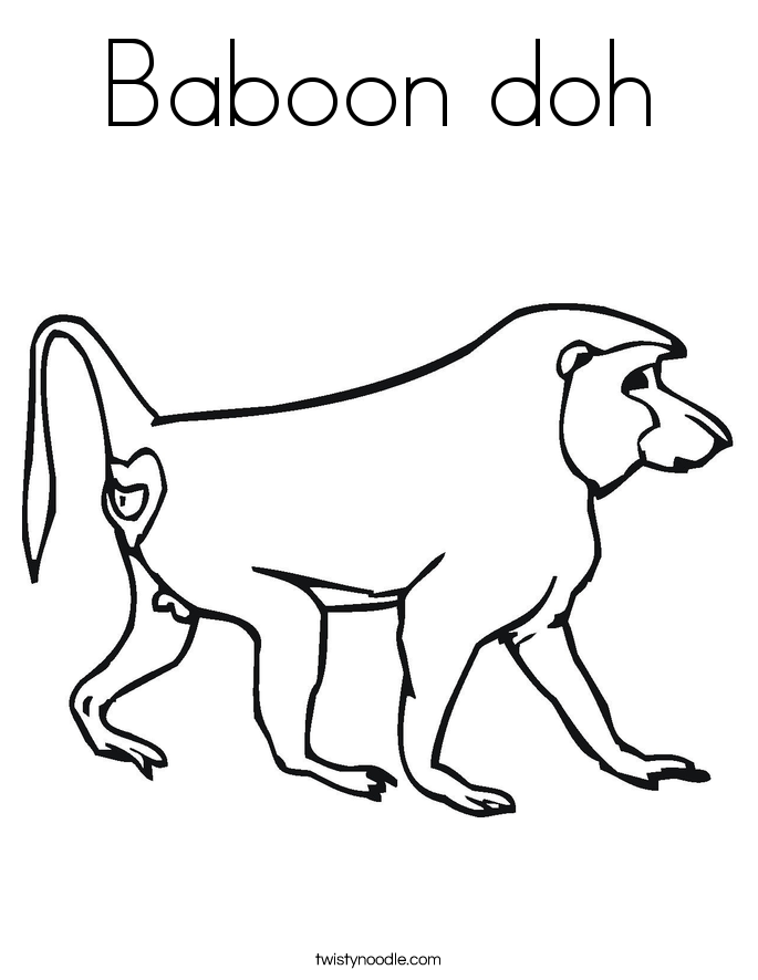 Baboon doh Coloring Page Twisty Noodle