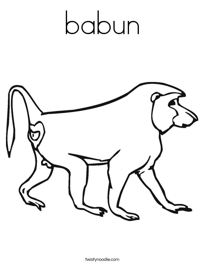 babun Coloring Page