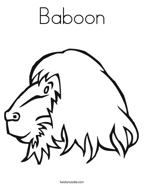 Baboon Coloring Page Twisty Noodle