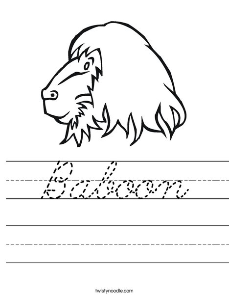 Baboon Head Worksheet