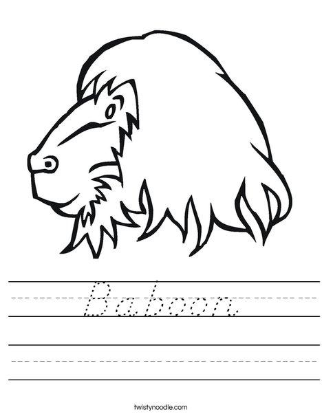 Baboon Head Worksheet