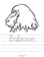 Baboon Handwriting Sheet