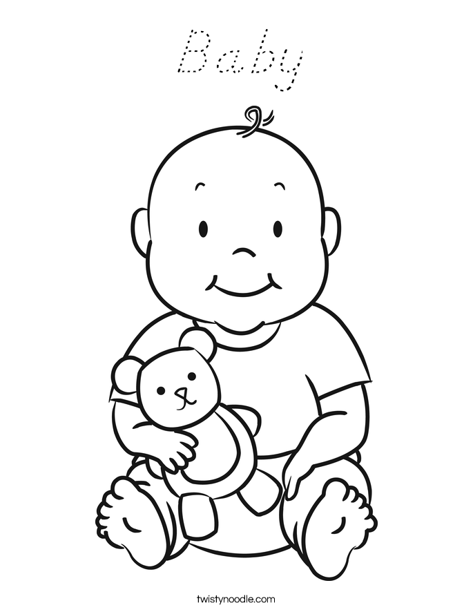 Baby Coloring Page - D'Nealian - Twisty Noodle